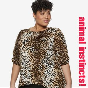 Carol Rose Leopard Print Crew Neck Sweater